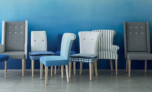 Dining Chairs von Designers Guild - v.l.n.r. - Harper, Gibson Alto, Stich Alto, Pleat, Stich Alto mit Lehne, Harper